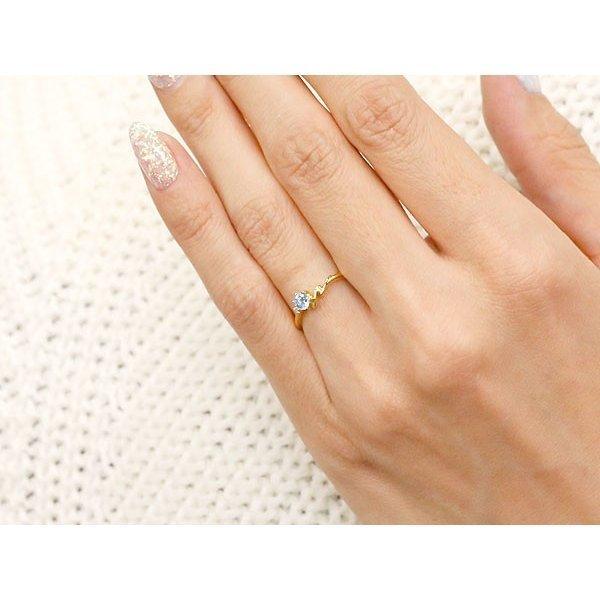 指輪 イニシャル ネーム N ピンキーリング ブルームーンストーン ダイヤモンド リング イエローゴールドk18 アルファベット 18金 6月誕生石_画像5