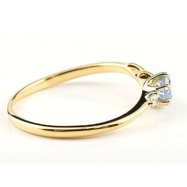 指輪 イニシャル ネーム N ピンキーリング ブルームーンストーン ダイヤモンド リング イエローゴールドk18 アルファベット 18金 6月誕生石_画像2