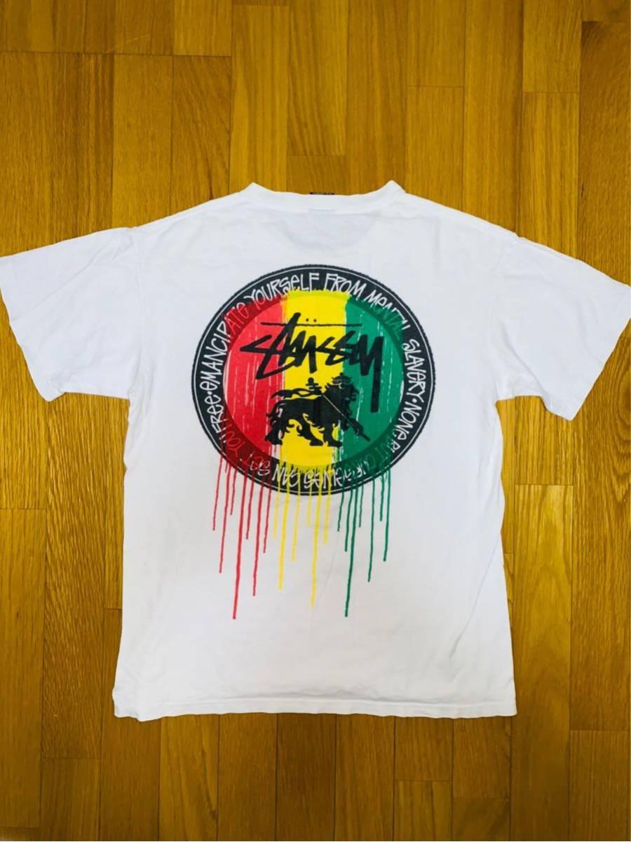 STUSSY オールドステューシー Tシャツ ヴィンテージ ラスタライオン メキシコ製 総柄 90's 80's 70's ボブマーリー レゲエ