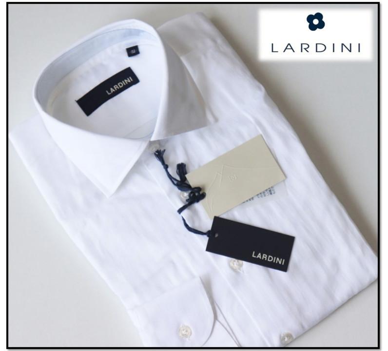 新品【LARDINI ラルディーニ】イタリア製 コットン シャドーストライプ 長袖ドレスシャツ 白 41
