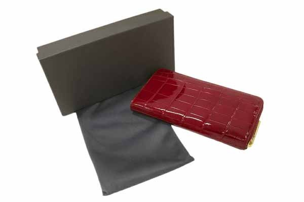 クロコダイル レッド 艶あり シャイニング加工 ラウンドファスナー長財布(小銭入れあり)_画像2