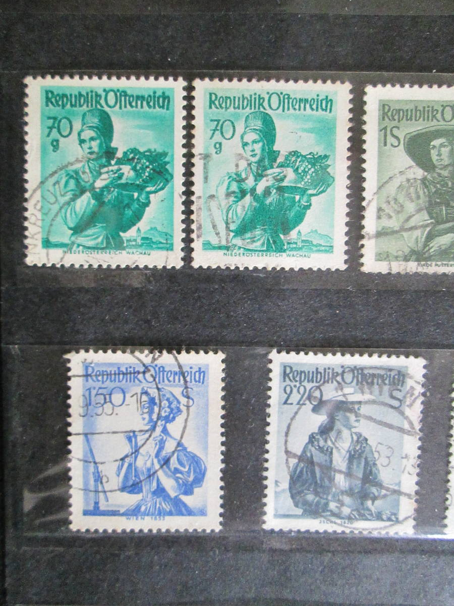 オーストリア切手 1948年~民族衣装シリーズ  5g~3.50S ザツツブルグ地方、フォーラルルベルク地方、チロル地方など 18枚 使用済_画像4