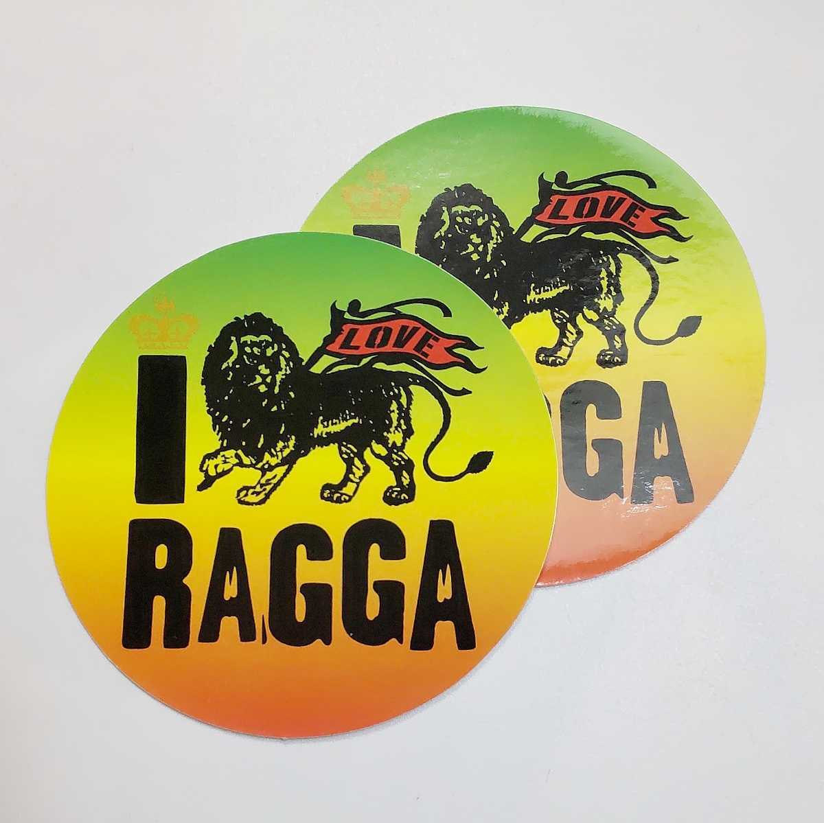 I LOVE RAGGA ステッカー レゲエ★検)ノベルティー シール 非売品 販促品 デッドストック 当時物 I LUV REGGAE ジャマイカ JAMAICA ラスタ_画像1