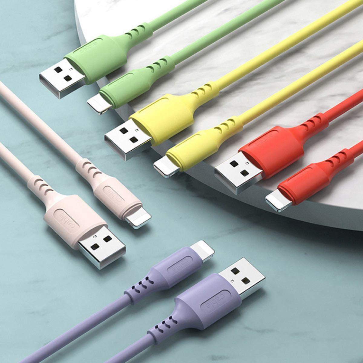 充電 ケーブル 1M iPhone アイフォンケーブル 急速充電 12Pro11ProMax5本セット 液体シリコン 柔らかい