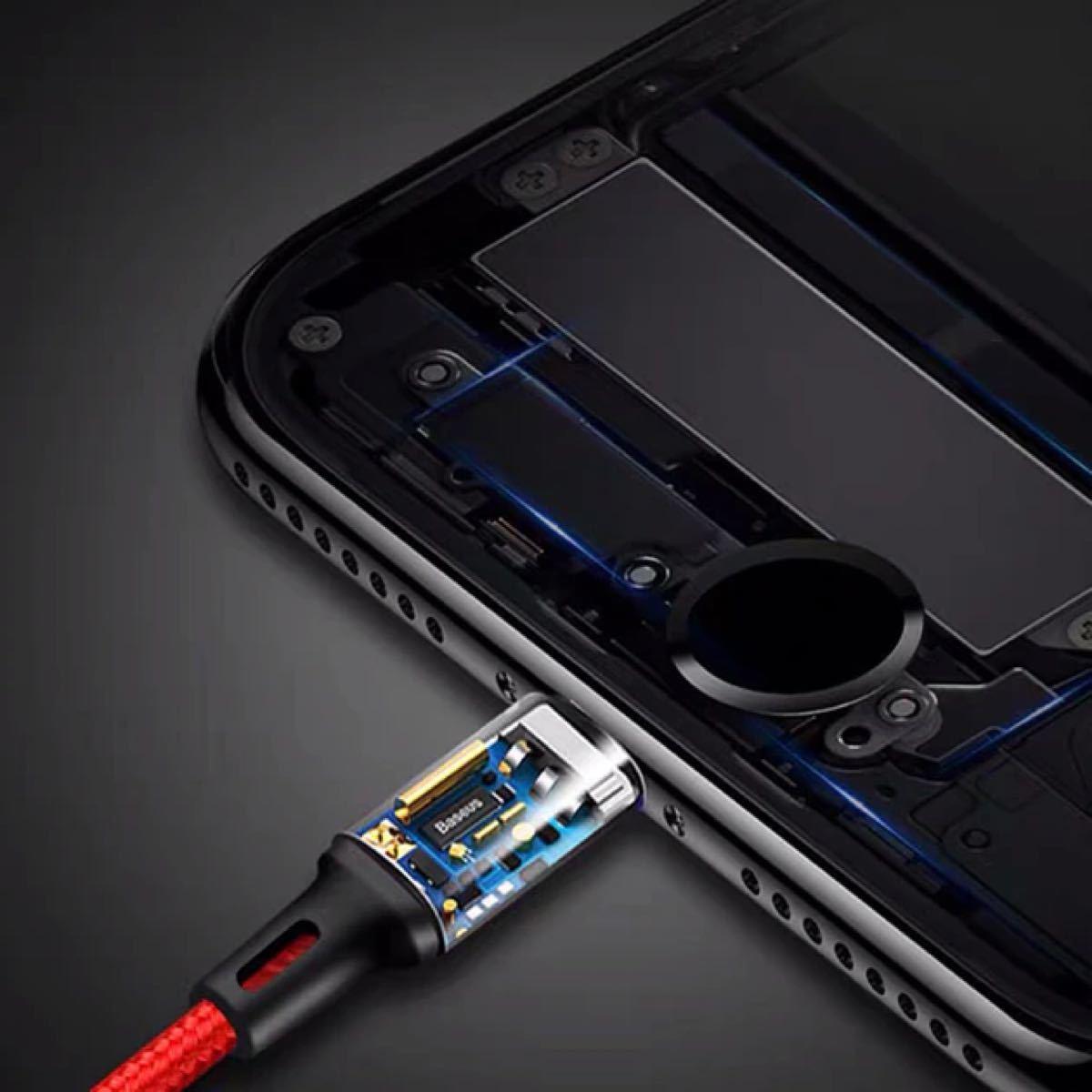 充電ケーブル 3in1 ナイロン 断線防止 iPhone Micro Type-C USB モバイルバッテリー高耐久3台同時充電
