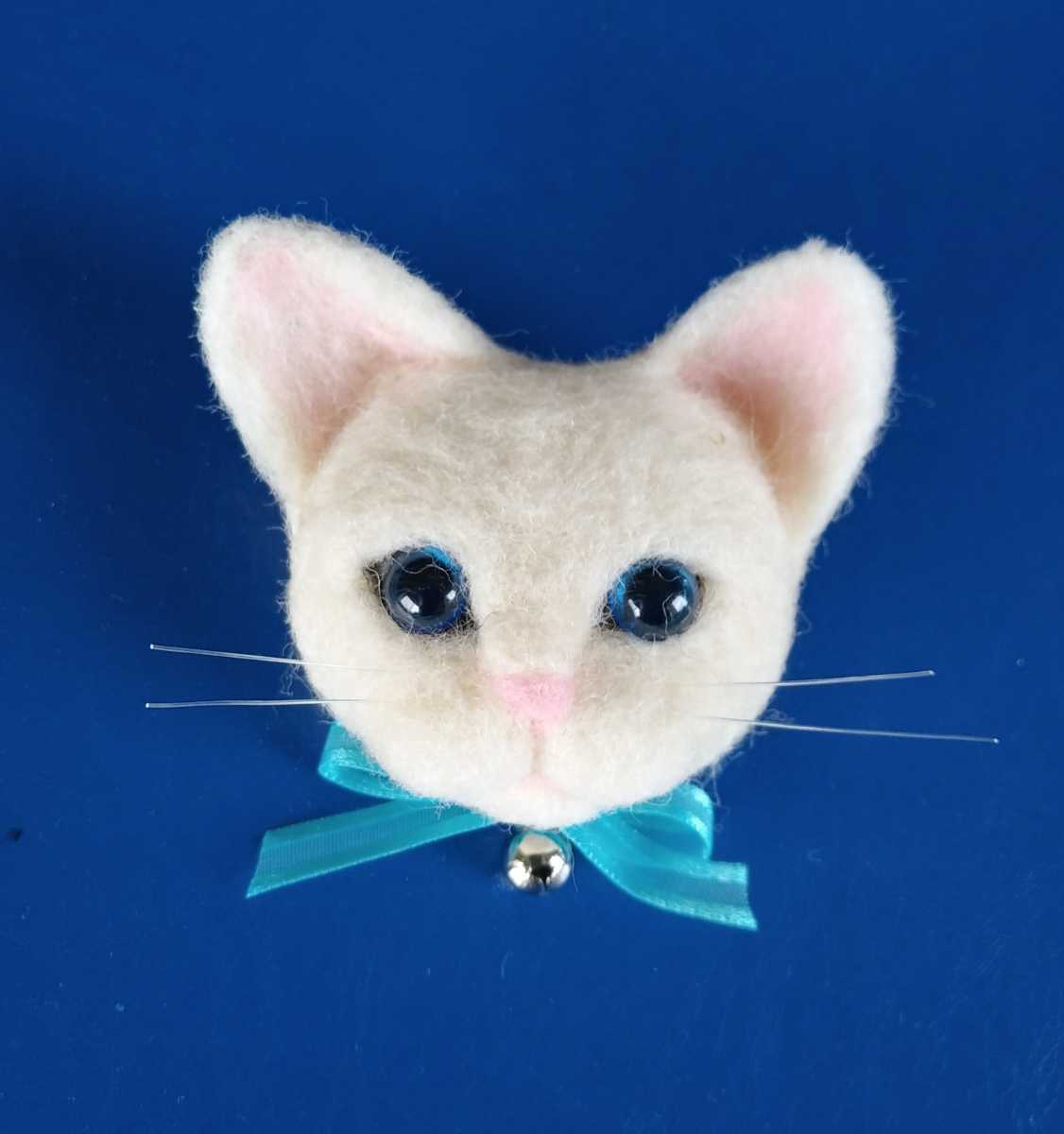 羊毛フェルト 猫ちゃん ブローチ ハンドメイド_画像1