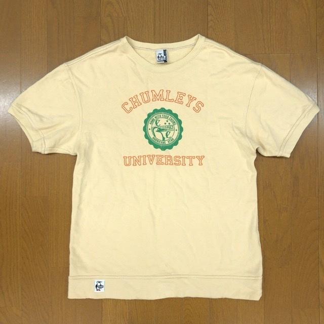 CHUMS チャムス デカロゴ 半袖 スウェット トレーナー XL クリーム Tシャツ アウトドア