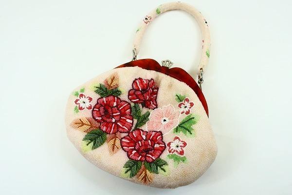 【着物フィ】1円 ビーズバッグ 白 花 可愛い お洒落 和装バッグ 着物 8557