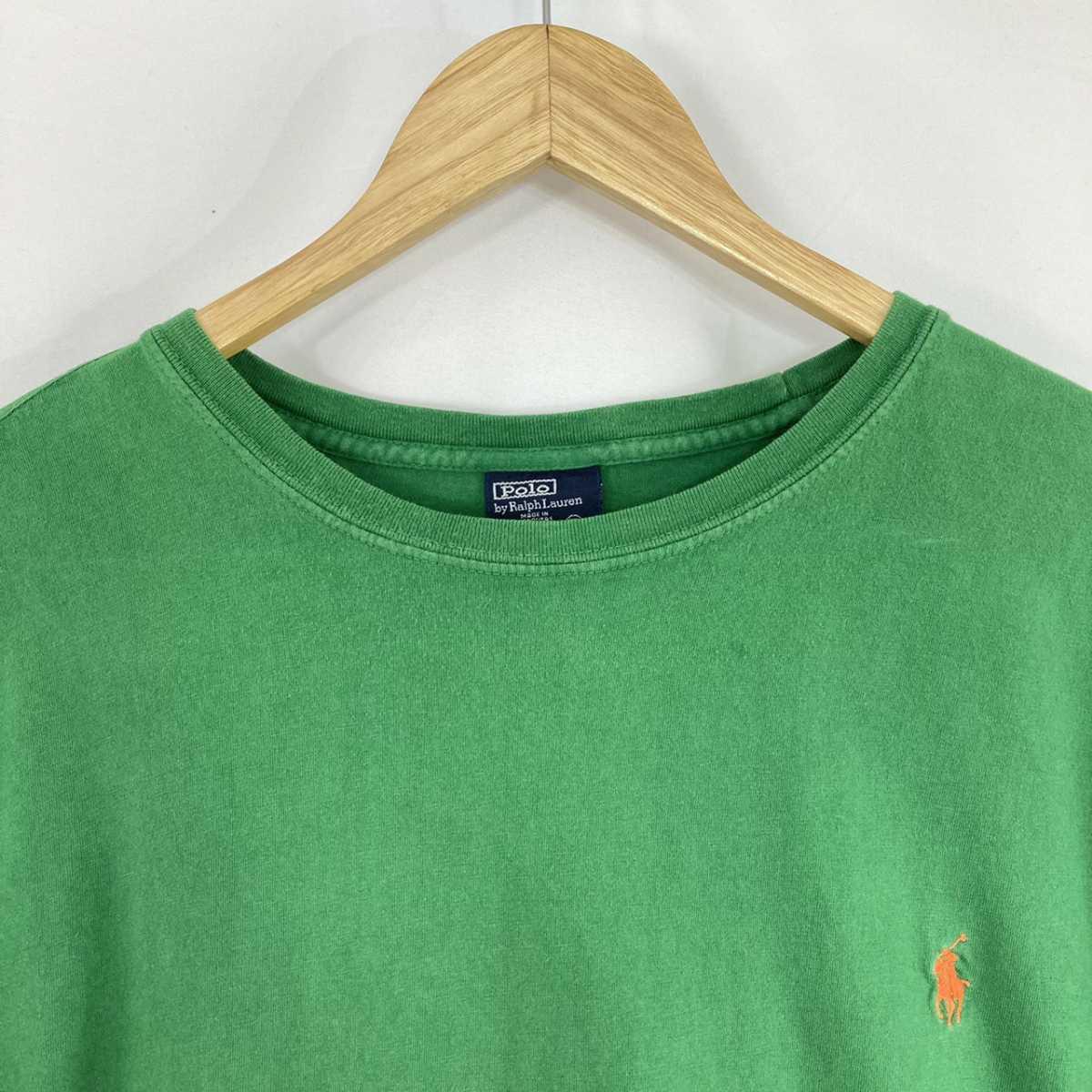 【人気カラー】ラルフローレン Tシャツ 刺繍ロゴ 緑 グリーン 古着 XXL_画像4