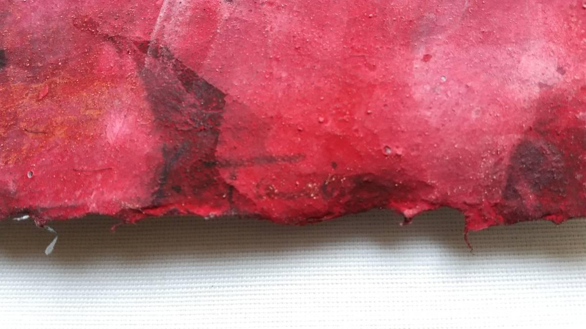 田井雄二 『 赤い回想 』  直筆サイン入り 1点もの ドローイング・岩絵の具 額装 【真作保証】 さし箱付き_Y.Tai の直筆サインあり。