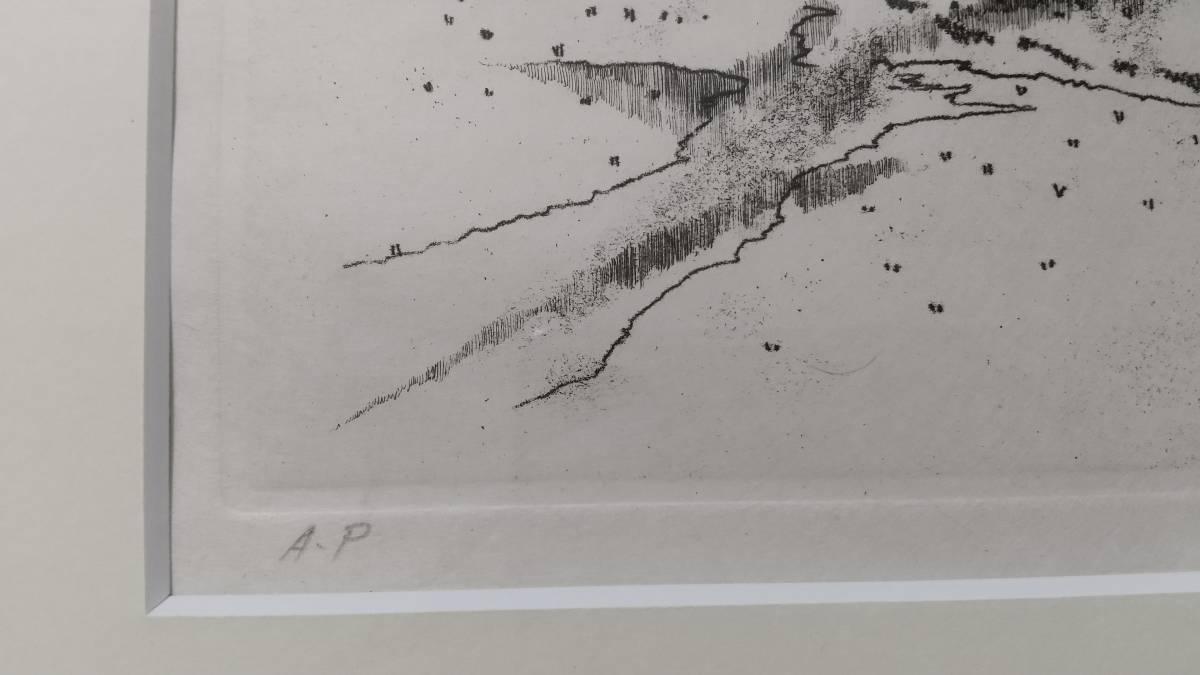 田渕俊夫 『広』 私の心景より 銅版画 直筆サイン入り 1981年制作  限定80部  額装  【真作保証】 黄袋 さし箱付_画像4