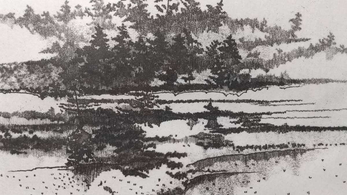 田渕俊夫 『広』 私の心景より 銅版画 直筆サイン入り 1981年制作  限定80部  額装  【真作保証】 黄袋 さし箱付_画像6
