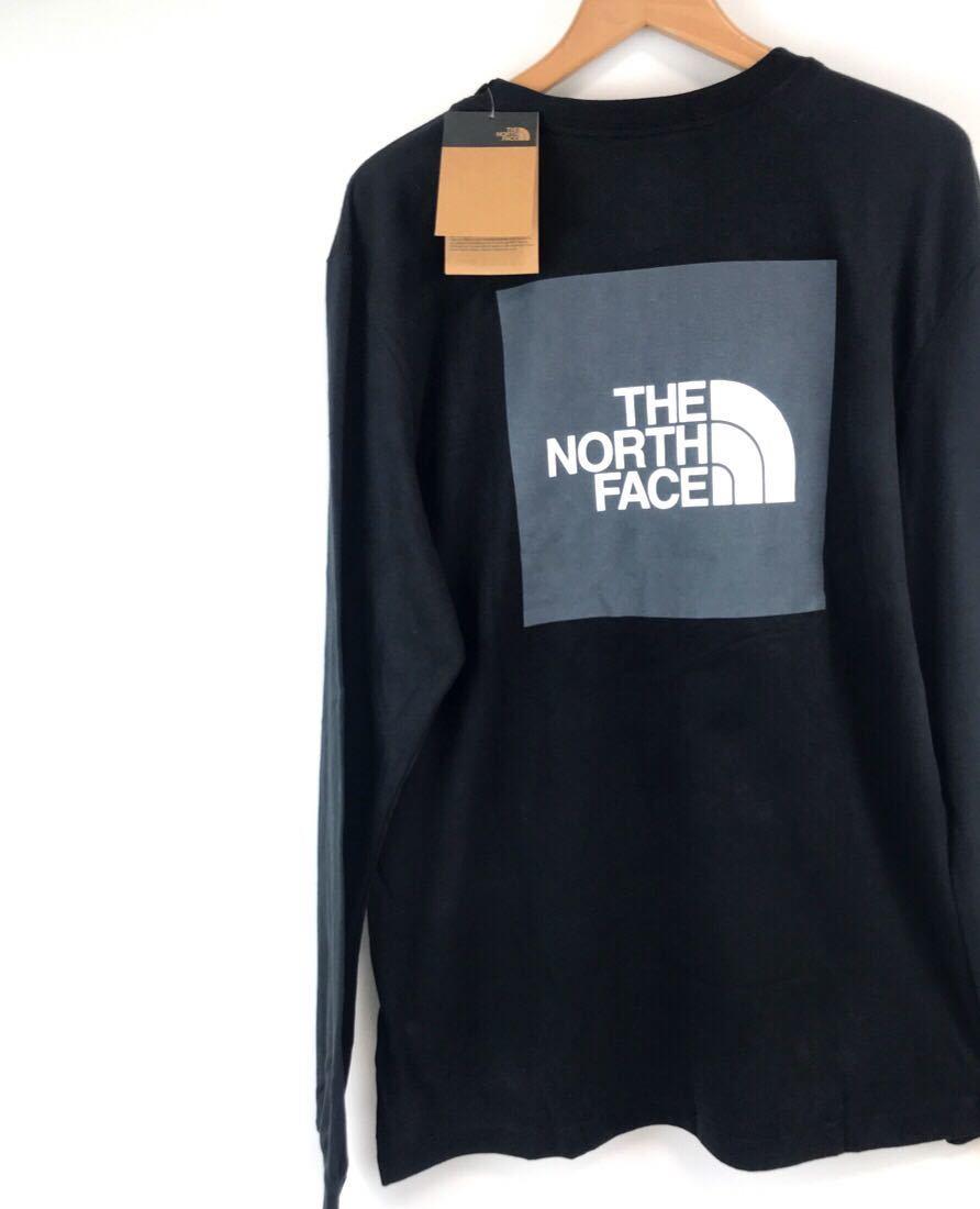 ノースフェイス ロンT ボックスロゴ Tシャツ 長袖 バックプリント ロングスリーブ ブラック XLサイズ THE NORTH FACE BOX TEE 新品