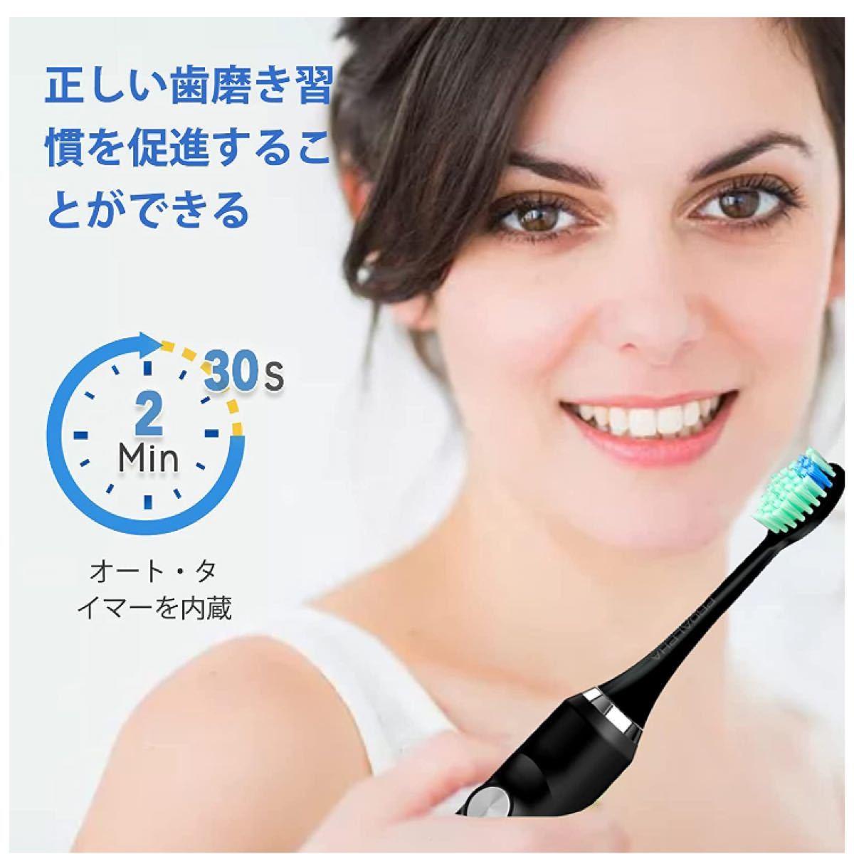 電動歯ブラシ 音波歯ブラシ ソニック USB充電式 IPX7防水 替えブラ5本