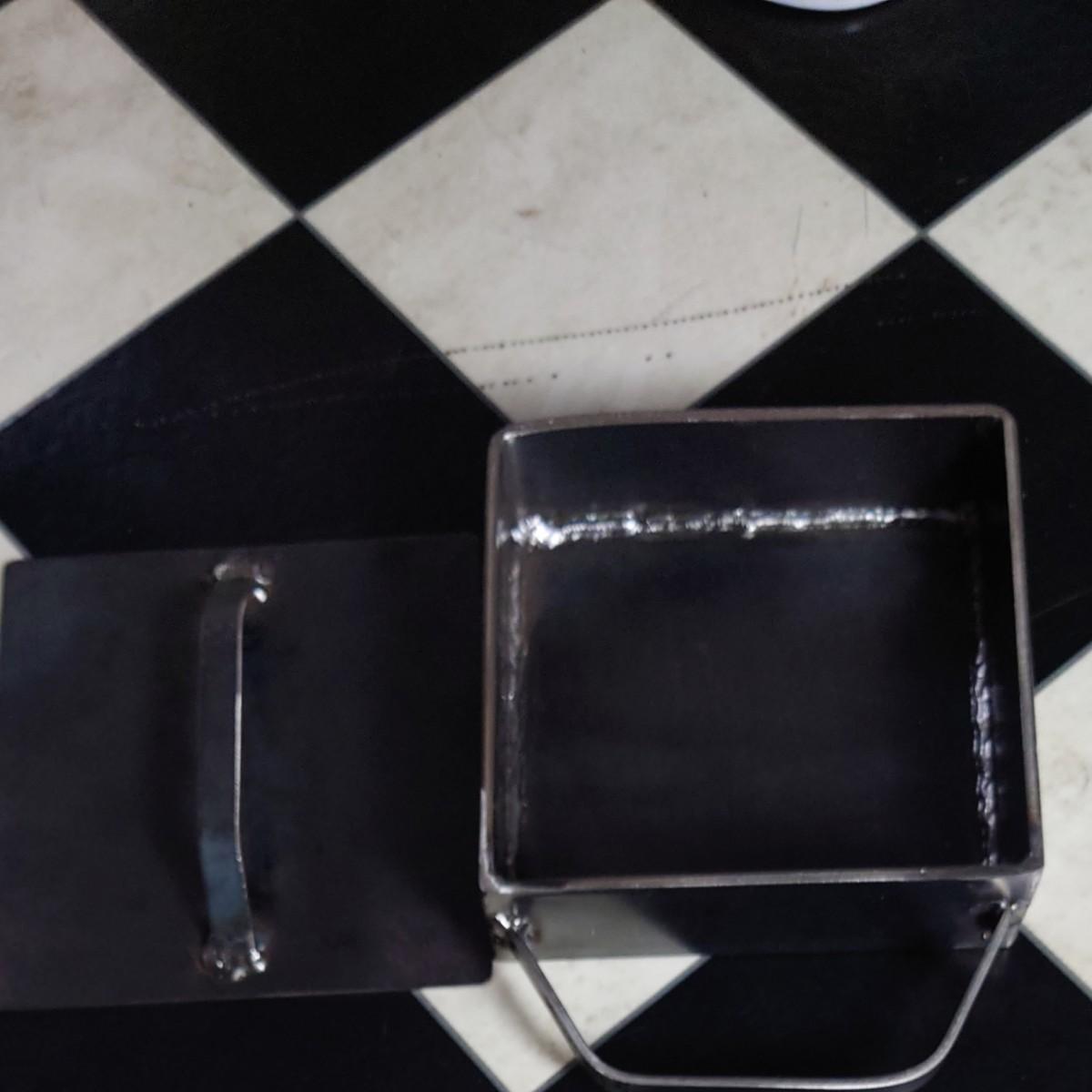 メスティン風枠付き鉄板 底板4.5ミリ枠板4.5ミリ約158×158×48