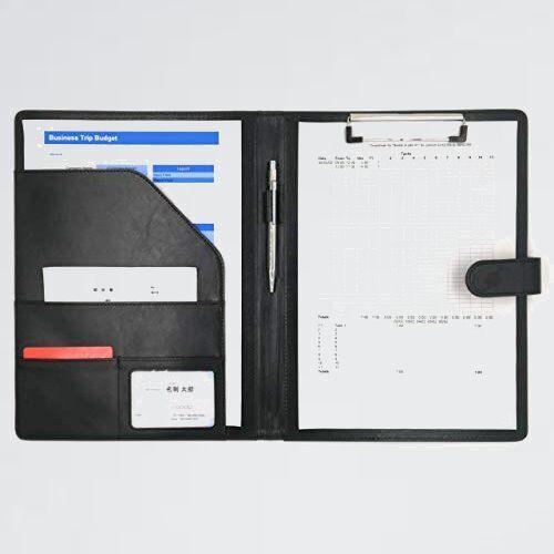 好評 新品 SHOP MT's M-TN (黒, A4) クリップボ-ド A4 クリップ ファイル PUレザ- 書類 フォルダ バインダ- カ-ド ポケット ペン_画像1