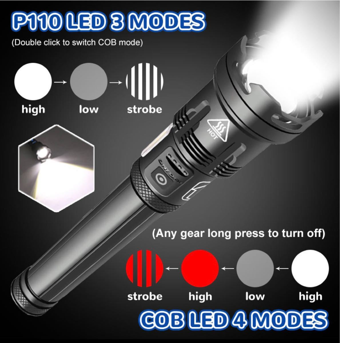 最新LED XHP110+COB!超高輝度タクティカルハンディライト・ランタン 懐中電灯3※18650バッテリー+充電器付!充電式
