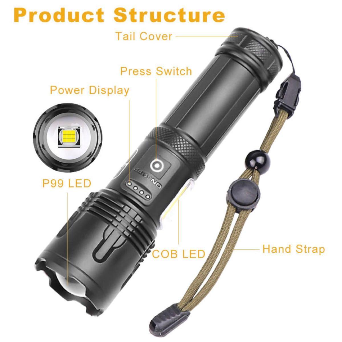 最新LED XHP99+COB 超強力・高輝度タクティカルハンディライト・ランタン 懐中電灯2 18650バッテリー付!充電式
