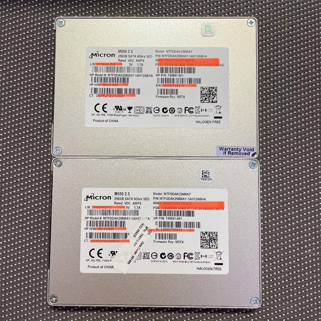 Micron SSD 2.5インチSATA 256GB二枚セット/使用時間4458,5048