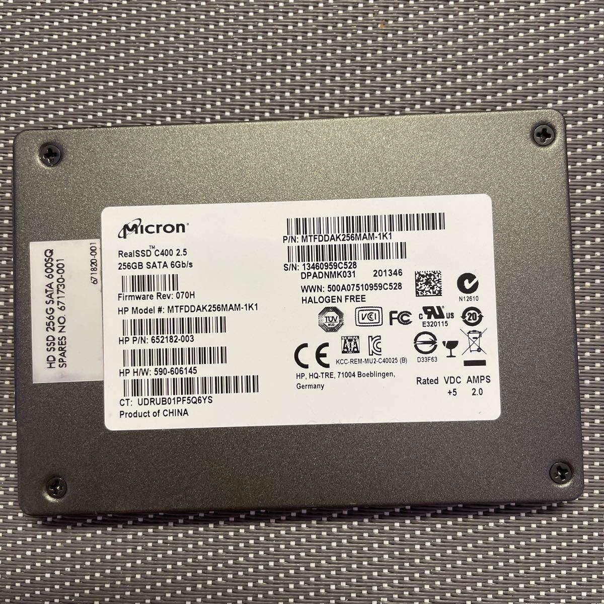 Micron SSD 2.5インチSATA 256GB使用時間2737h