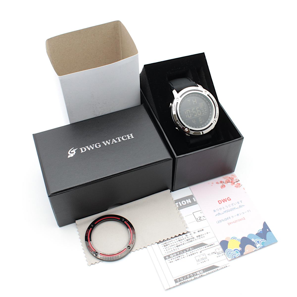 【1円開始】画面がでかくて見やすい!! 目に優しい腕時計! 今の腕時計が小さすぎて不満がある方必見!DWG WATCH メンズ 腕時計 / N0660_画像5