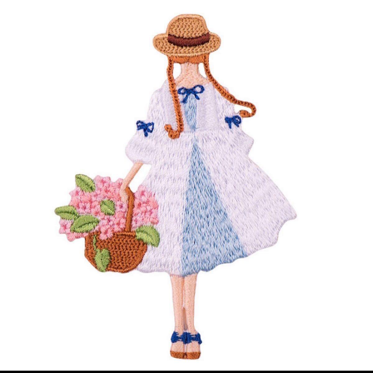 アイロンワッペン 女の子 刺繍ワッペン