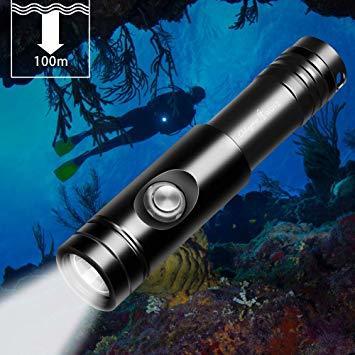 黒 Odepro WD12 IPX8級防水ダイビングライト充電可能 水深100mまでの完全防水仕様 超輝度 1050lm 10&
