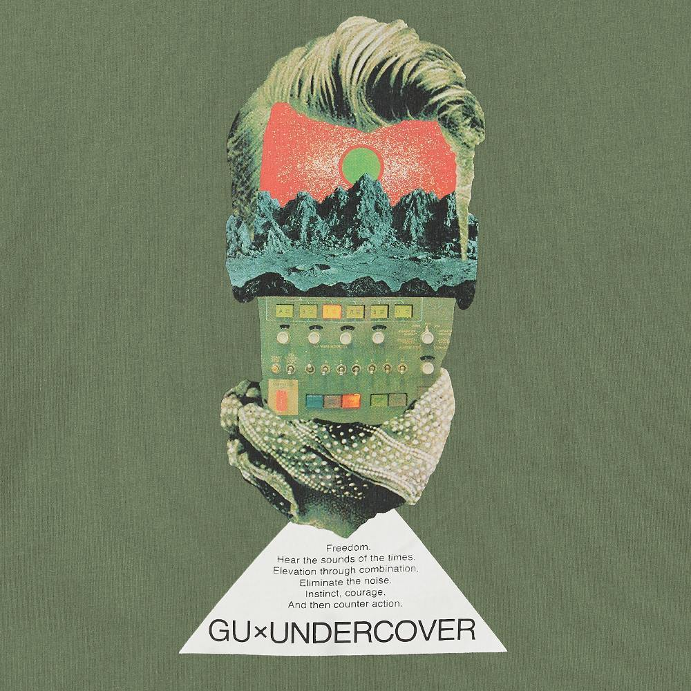 XXL 未使用品 UNDERCOVER GU アンダーカバー ビッググラフィックTシャツ XXLサイズ 5分袖 オリーブ カーキ グリーン 2_画像3
