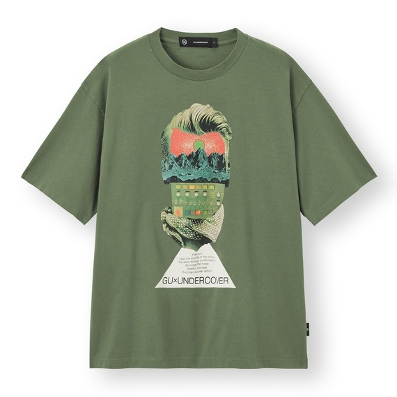 XXL 未使用品 UNDERCOVER GU アンダーカバー ビッググラフィックTシャツ XXLサイズ 5分袖 オリーブ カーキ グリーン 2_画像1