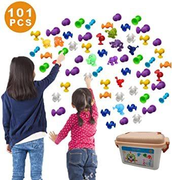 新感覚知育ブロック 101個セット 吸盤 おもちゃ 積み木 組み立て お風呂のおもちゃ 男の子 女の子 子供の誕生日 プレゼント_画像1