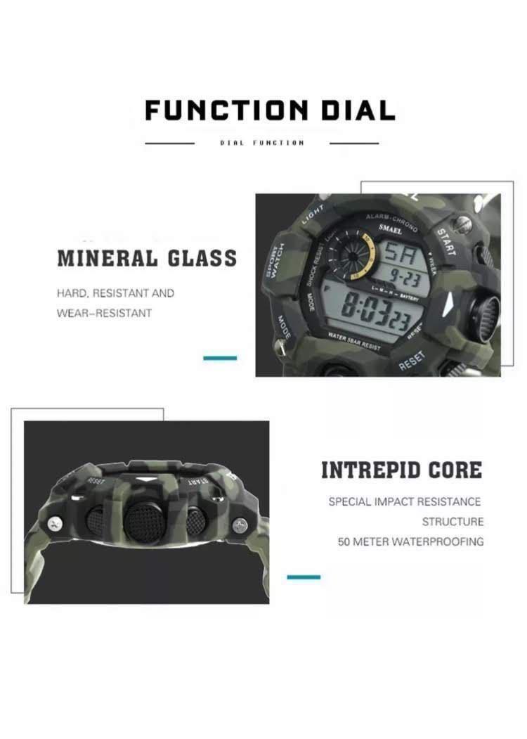 送料無料 新品 SMAEL メンズ腕時計 デジタルウォッチ 多機能 アウトドア 防水腕時計 G-SHOCK プレゼント ビッグフェイス ブラック スポーツ_画像4