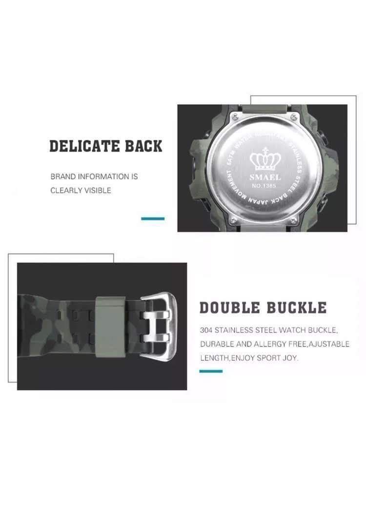 送料無料 新品 SMAEL メンズ腕時計 デジタルウォッチ 多機能 アウトドア 防水腕時計 G-SHOCK プレゼント ビッグフェイス ブラック スポーツ_画像5
