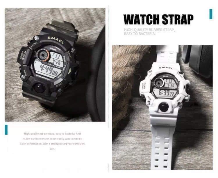 送料無料 新品 SMAEL メンズ腕時計 デジタルウォッチ 多機能 アウトドア 防水腕時計 G-SHOCK プレゼント ビッグフェイス ブラック スポーツ_画像3
