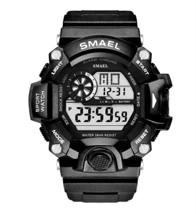 送料無料 新品 SMAEL メンズ腕時計 デジタルウォッチ 多機能 アウトドア 防水腕時計 G-SHOCK プレゼント ビッグフェイス ブラック スポーツ_画像1