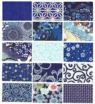 青色系 【Amazon.co.jp 限定】和紙かわ澄 千代紙 友禅和紙 B4 判 15柄・15枚入 青色系_画像3