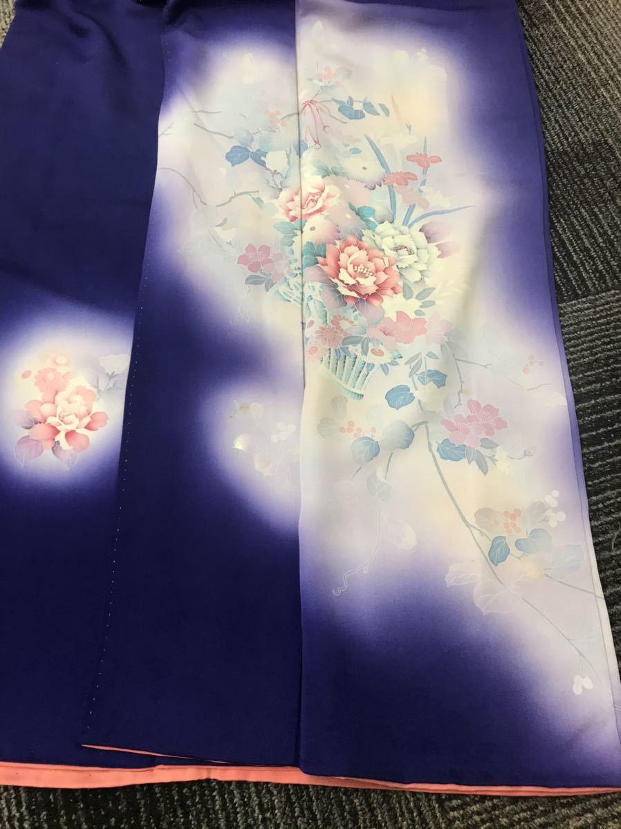 着物 訪問着 正絹 紫 花模様_画像3
