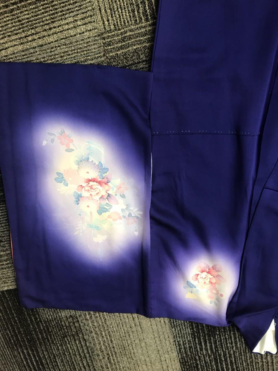 着物 訪問着 正絹 紫 花模様_画像4