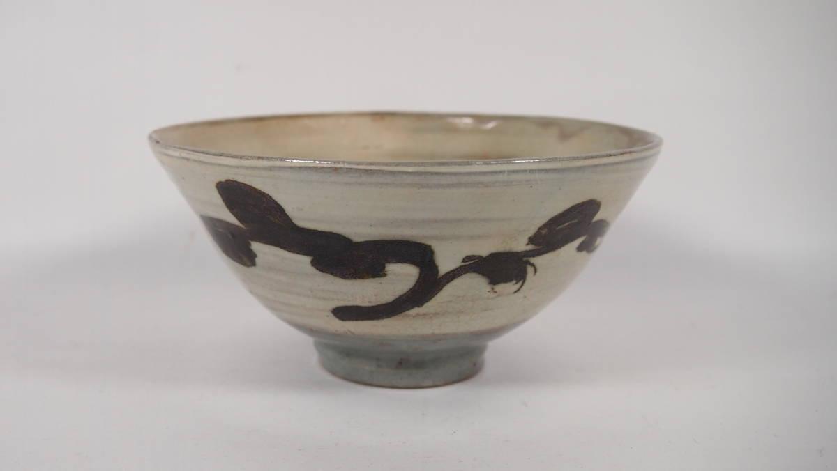 京焼  粉引風鉄釉絵 抹茶茶碗 在銘  茶道具  21428ー11-2_画像1