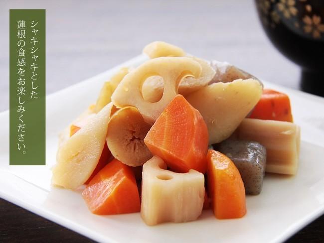 国産れんこんスライス水煮120g(国内産蓮根)煮物や炒め物など色々なお料理にお使いください。(レンコン水煮 和え物 和風料理)_画像2