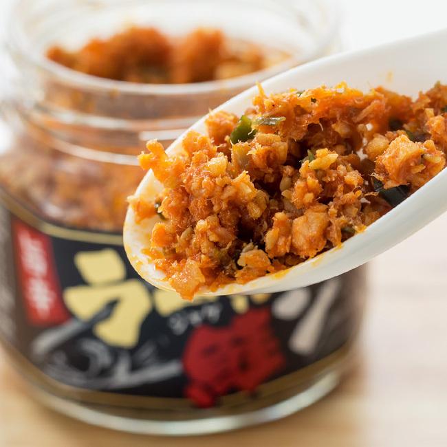 ラー油鮭ン 200g【ピリ辛風味のサケフレーク】ラー油の辛さと鮭の旨味が最高にあう【ラー油ジャケン】ご飯やおにぎりに最適なさけほぐし_画像3