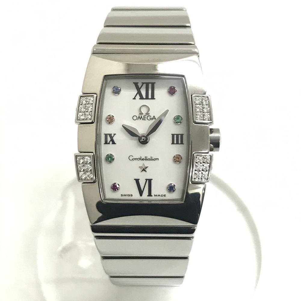 中古美品 OMEGA Constellation QUADRELLA オメガ コンステレーション クアドレラ ダイヤ 1585-79 レディース 1585.79 クォーツ 腕時計