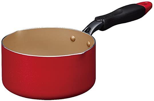 片手鍋 16cm 片手鍋 エバークック ミルクパン 16cm IH対応 レッド 1年保証 ドウシシャ_画像1