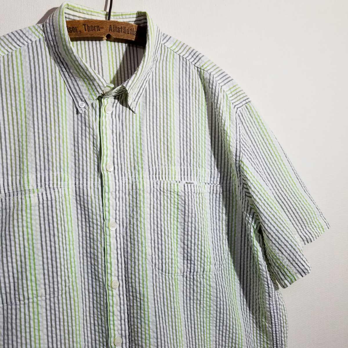《清涼感 / 綿100% / グラデーション シアサッカー》良品 PAPAS 半袖 シアサッカーシャツ 48 M パパス アロハシャツ ハワイアンシャツ 夏