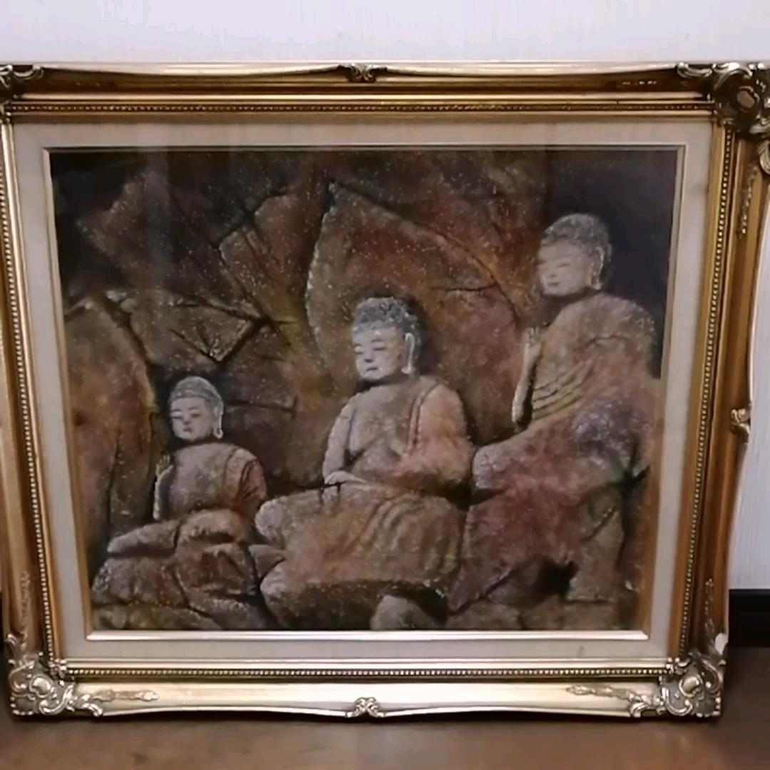 油彩画 F10 熊谷 浩  臼枡の石仏  阿弥陀如来像