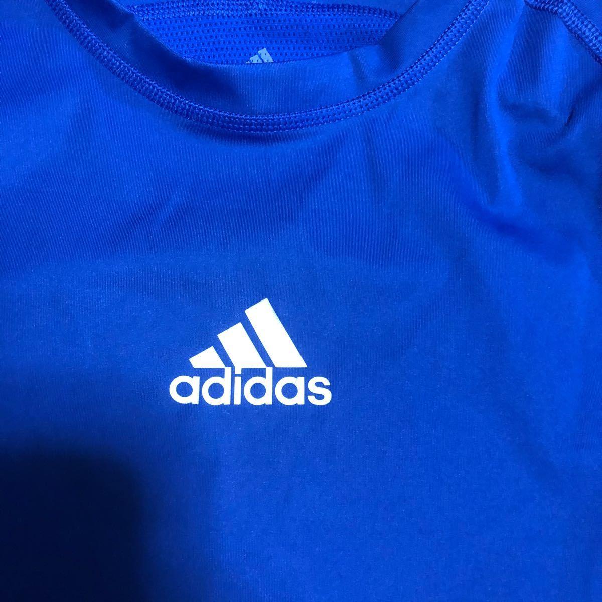 adidas アディダス techfit アンダーシャツ 青 ロゴ コンプレッションシャツ tシャツ 半袖 climacool