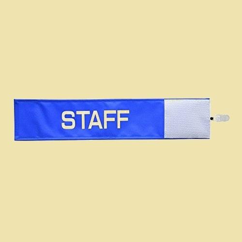 大人気 新品 未使用 布製 【ピカワン】ワンタッチ腕章「STAFF」クリップ式 D-1K ナイロン(ブル-)N103-B_画像1