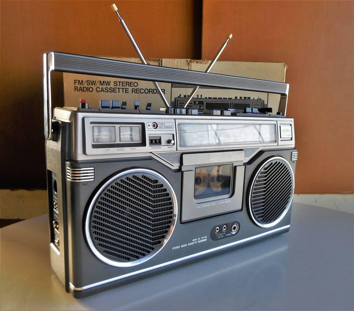 70s AIWA 3バンドラジオ搭載 ビンテージ ラジカセ TPR-830 整備済 各動作正常 美品 専用ソフトケース/新品テープ/箱入 レア機 BCL