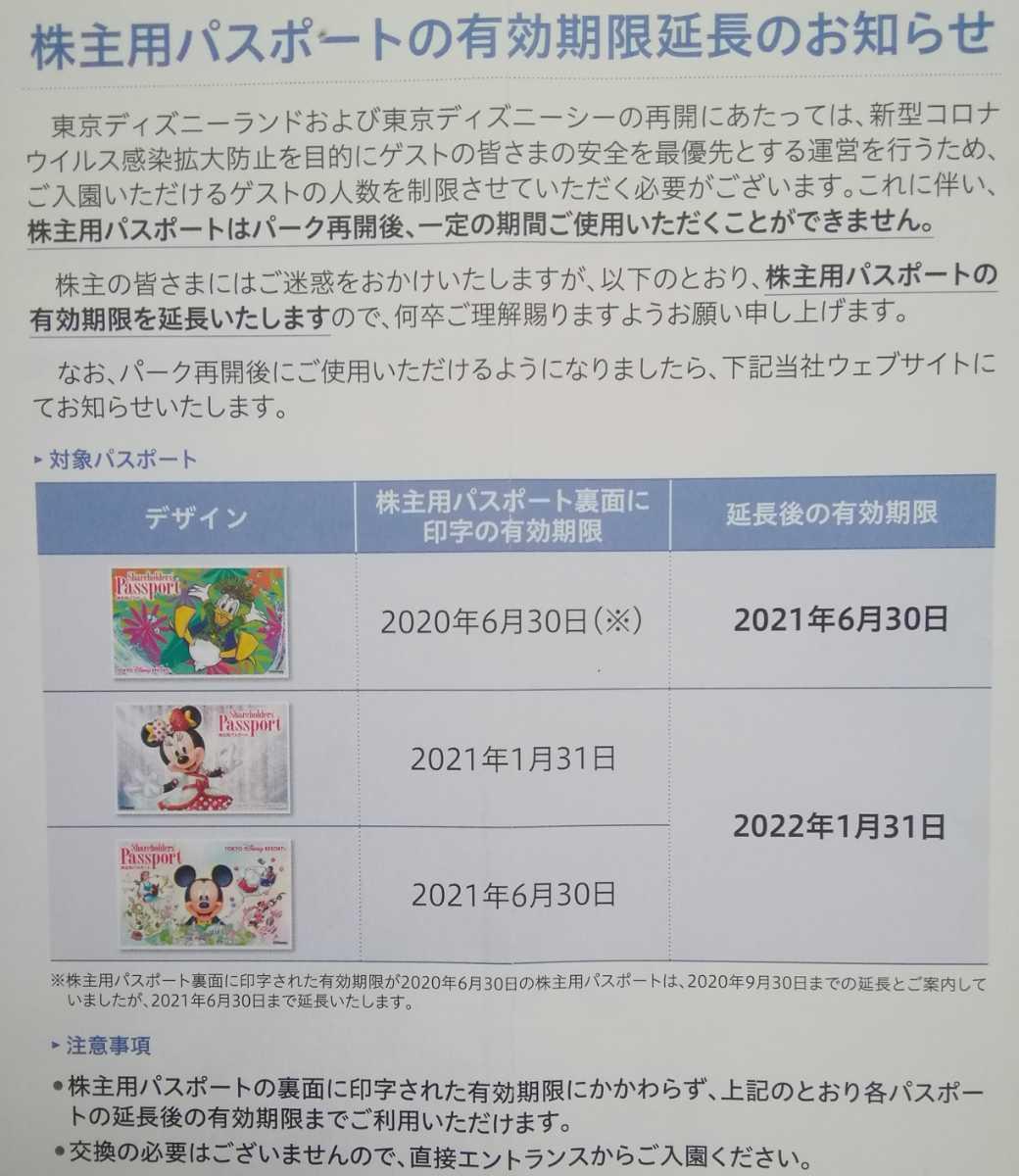 オリエンタルランド 株主用パスポート 22年1月31日まで 個数2 東京ディズニーランド 東京ディズニーシー _画像2