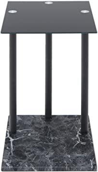 高級感 ガラス サイドテーブル 大理石柄 ソファサイド ベッドサイドテーブル コの字型 高さ調整可 ナイトテーブル リビング_画像10