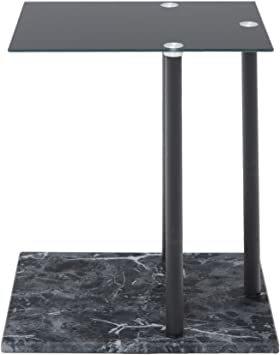 高級感 ガラス サイドテーブル 大理石柄 ソファサイド ベッドサイドテーブル コの字型 高さ調整可 ナイトテーブル リビング_画像1
